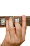 Accord. Taking Gm (G major accord) or like any Major chord with bare isolated on white Royalty Free Stock Photo