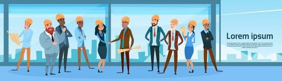 Accord de projet de secousse de main de Team Architect Mix Race Workers de constructeur illustration libre de droits