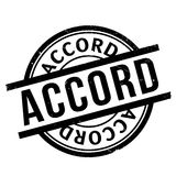 Accord rubber stamp. Grunge design with dust scratches. Effects can be easily removed for a clean, crisp look. Color is easily changed vector illustration