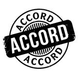 Accord rubber stamp. Grunge design with dust scratches. Effects can be easily removed for a clean, crisp look. Color is easily changed stock illustration