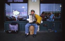 accordian音乐家街道 库存照片