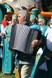 Accordian player at Russian festival Royalty Free Stock Images