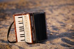Accordian on a sandy beach Stock Images