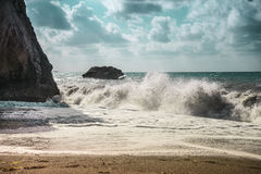 According to the legends of these frothy sea waves was born the goddess Aphrodite Stock Photo