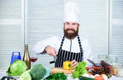 According to recipe. Prepare ingredients for cooking. Useful for significant amount of cooking methods. Basic cooking. Processes. Man master chef or amateur stock photos