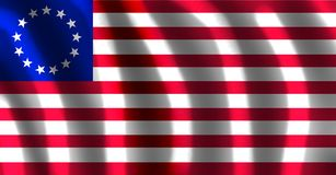 The & x22;Betsy Ross& x22; flag of usa with waves. According to the traditional account, the original flag was made in June 1776, when a small committee – Stock Images