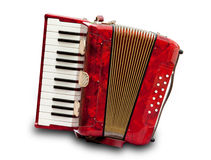 Accordion. Retro small red accordion isolated on white stock images