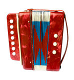 Accordion. A red child's one-row bisonoric button accordion (melodeon). Isolated on white Royalty Free Stock Photography