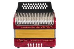 Accordion. Red accordion isolated over white background royalty free stock photography
