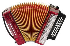 Accordion. Red accordion isolated over white background stock images