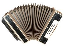 Accordion. A very old accordion, one button is not stock images