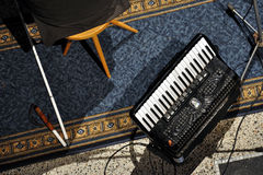 Accordion. Mario Bihari, a blind musician, plays a concert on piano and accordion stock image