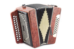 Accordion. Musical instrument. It is isolated on a white background royalty free stock photos