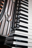 Accordion. Detail of vintage black accordion royalty free stock image
