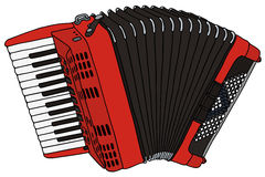 Accordion. Hand drawing of a red accordion Royalty Free Stock Images