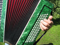 Accordion. Playing the accordion in the garden, details close up Royalty Free Stock Photos