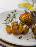 Accordion baked potatoes Royalty Free Stock Photography