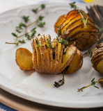 Accordion baked potatoes Royalty Free Stock Photos