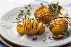 Accordion baked potatoes Royalty Free Stock Photos