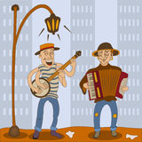 Accordion banjo serenade players Stock Photos