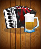 Accordion and  beer mug Royalty Free Stock Photo