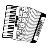 Accordion hand drawn  illustration. Accordion hand drawn. Design Isolated on white Stock Image