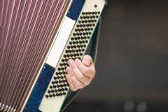 Free Accordion In The Hands Of A Musician, Close-up View. Royalty Free Stock Photography - 181062557