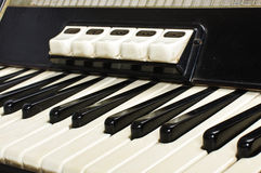 Accordion keyboard close up Stock Images