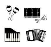 Accordion, maraca, piano and drum icon. Music instrument. vector Royalty Free Stock Image