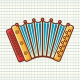 Accordion. Musical instrument for kid. Baby toy. Stock Photo