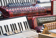 Accordion musical instruments. View of accordion musical instruments royalty free stock photo
