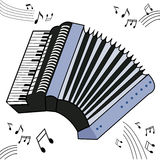 Accordion. An accordion with notes on a white background. Vector image royalty free illustration