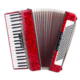 Accordion. Old red accordion isolated on a white background stock photos