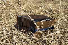 Accordion. Old Russian accordion lying on straw Royalty Free Stock Image