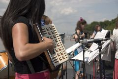 Accordion orchestra. Only girls playing Royalty Free Stock Photography