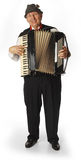 Accordion player. On white background stock photography