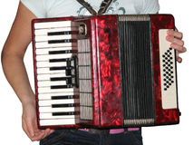 Accordion with player Stock Image