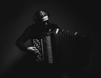 Accordion Player in Black and White Royalty Free Stock Photos