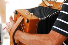 Accordion Player at a Festival in France Stock Photo