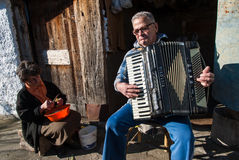 Accordion player in Greece Royalty Free Stock Photo