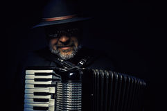 Accordion Player Portrait. Portrait of an accordion player, playing and posing stock photos