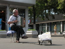 Accordion Player in Ukraine Stock Images