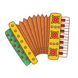 Accordion russian bayan musical instrument doodle vector illustration. Accordion russian bayan musical instrument doodle colorful cartoon vector illustration Royalty Free Stock Image