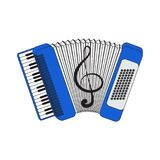 Accordion, vector illustration, isolated with a picture of a violin key. Vector EPS10 Royalty Free Stock Photo