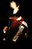 Accordionist plays. His musical instrument (accordion) in the Aosta Valley, dressed in clothing typical. Gressoneywalser Festival, July 2009 Stock Photo