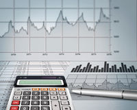 Account balance. Calculator with pencil and bills Royalty Free Stock Image