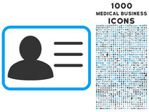 Account Card Icon with 1000 Medical Business Icons. Account Card vector bicolor icon with 1000 medical business icons. Set style is flat pictograms, blue and Vector Illustration