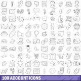 100 account icons set, outline style. 100 account icons set in outline style for any design vector illustration Royalty Free Stock Images