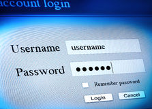 Account login sequence. Secure account log in sequence Stock Image