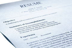 Free Account Manager Resume. Blue Tint. Royalty Free Stock Photography - 16372257